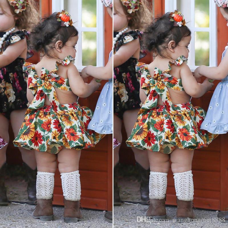 Neugeborene Kinder Baby Mädchen Kleidung Sunflower Print Shorts ärmellos Rundhals Rüschen rückenfreie Kleider 2pcs Baumwolle Kleinkind Outfit