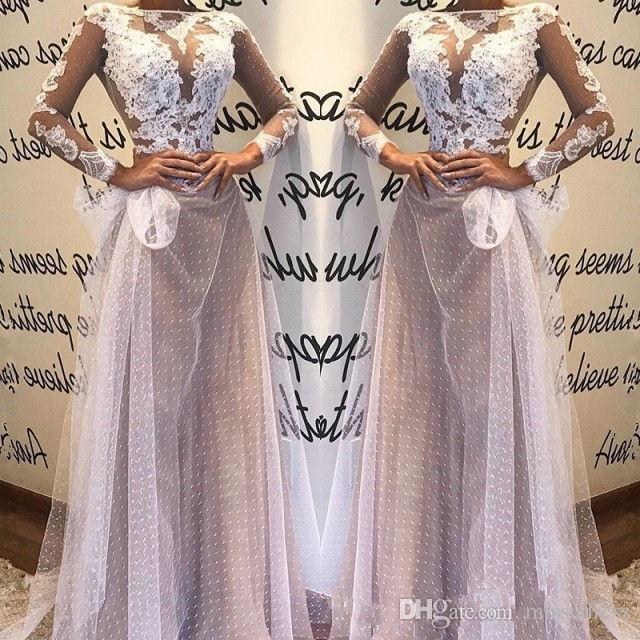 2019 светло-фиолетовое платье выпускного вечера линия женщин кружева аппликации вечернее платье с длинным рукавом ну вечеринку носить элегантные свадебные платья