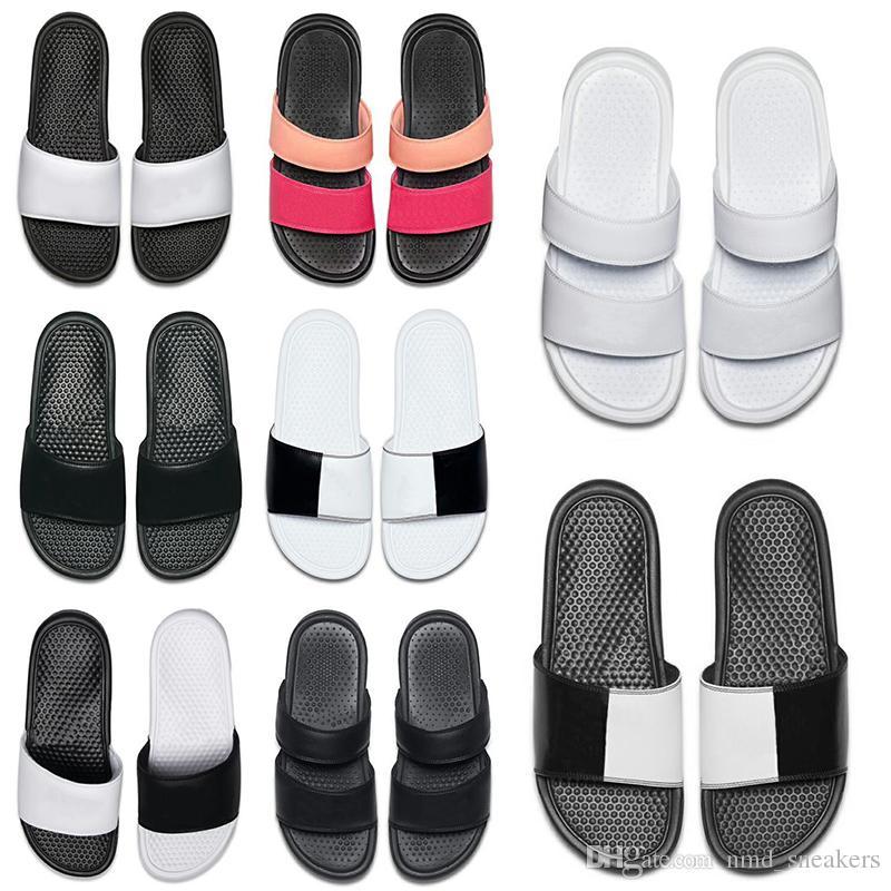 2019 homens mulheres designer de chinelos sandálias BENASSI preto branco vermelho listrado causal não-deslizamento chinelos de verão flip flops chinelo tamanho 36-45