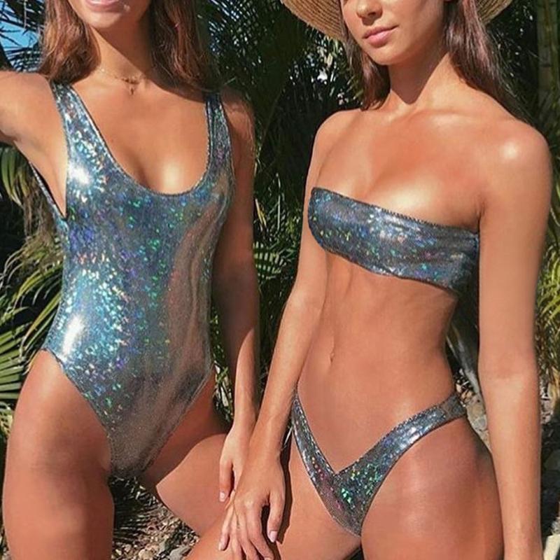 Heiße dünne kleine Brust sammelte Sexy Frauen Silber Pailletten Leder Schulterfrei Push-Up-Bikini-Badeanzug-Badebekleidung der neuen Sommer 2019 # *