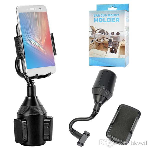 Universal Car Phone Holder Car Drink Holder Mount 2in1 Car Cradles Adjustable Gooseneck Stand Holders for Apple iPhone X 8 Plus Galaxy S10