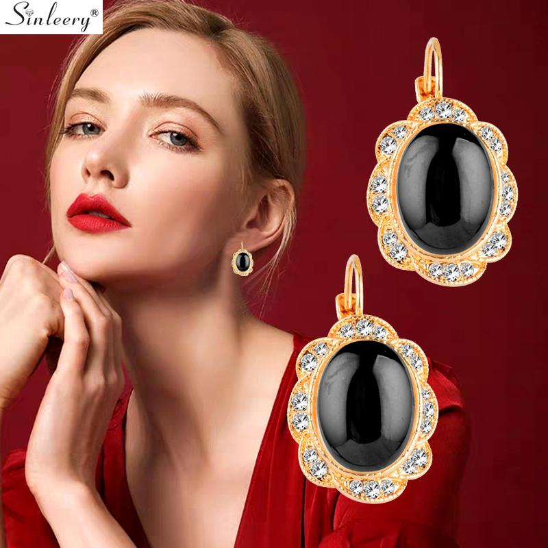 SINLEERY Chic Big Oval Lace Drop Earrings Yellow Gold Color Black White Pink Opal Tiny Crystal Women Earrings Jewelry ES772 SSD