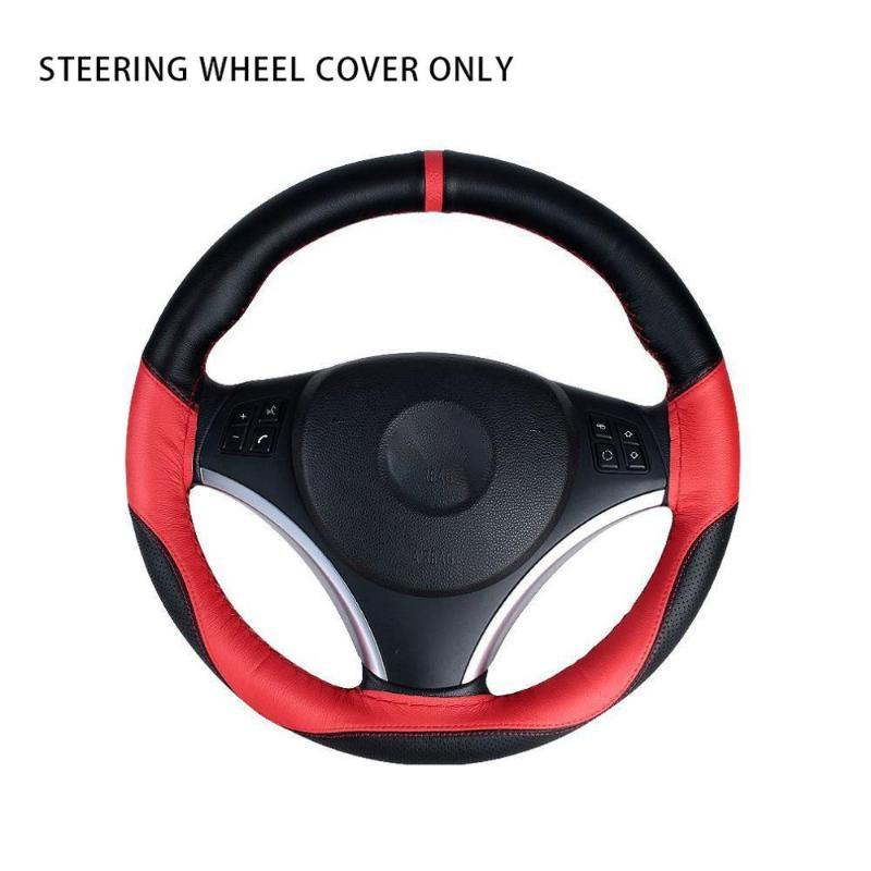 Microfiber PU Leather Car Steering Wheel Cover Hand Stitched Braid With Needles And Thread Car Cover DIY Styling