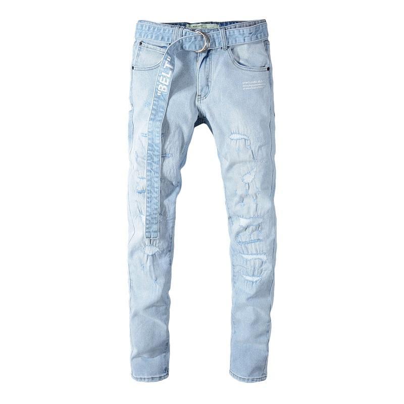 2020 En Kaliteli Jeans Ünlü Marka Tasarımcı Yeni Lüks Jeans Erkek Moda Sokak Giyim Erkek WhiteBiker Jeans Man Hip Hop Pantolon 266