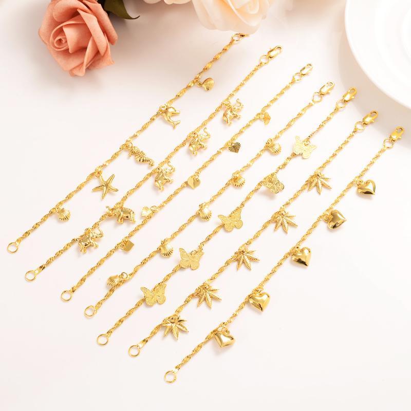 21cm meninas bonitos Bangle Mulheres ouro adesivo de miçangas pulseiras etíope Jóias Mão Africano Cadeia Itens árabes crianças jóias melhor presente