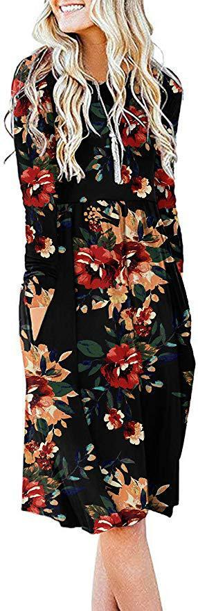 Весна 2020 Новый Amazon популярный европейский и американский рынк вокруг шеи печатающий элемент карман длинным рукавом платье пересечение границ
