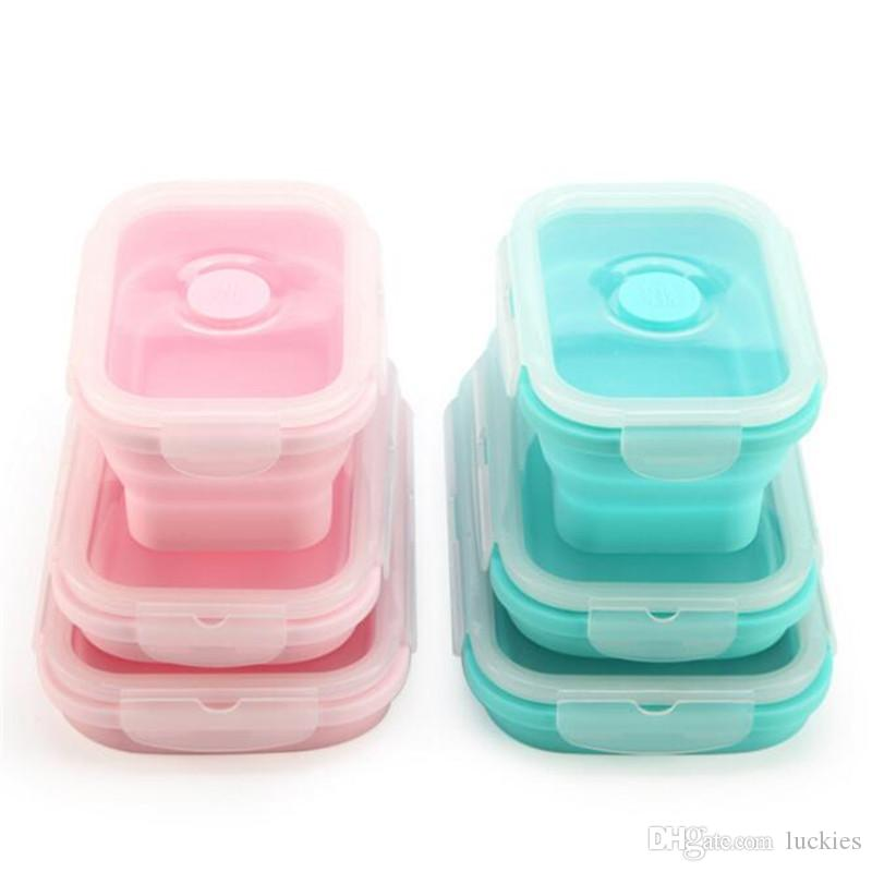 3pcs/Set Collapsible Silicone Lunch Box Food Fruit Storage Container Portable Bento Box Safe Kitchen Microwave School Lunchbox 077