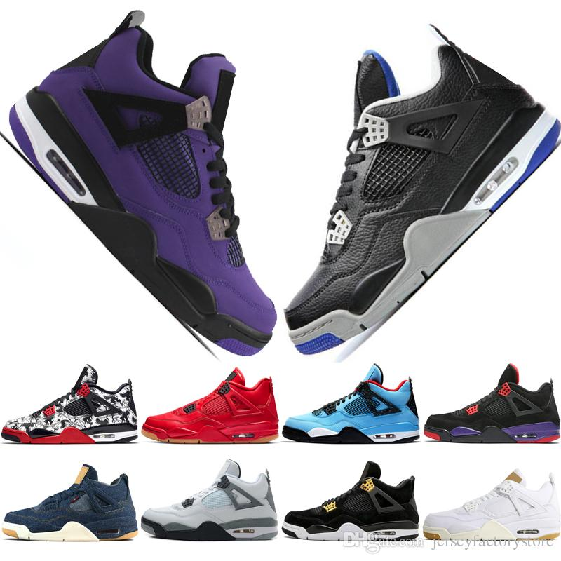 4 Tattoo Singles Day Travis Scotts Cactus Jack Raptors Mens Basketball Shoes 4s White Cement Pure Money men sport sneakers women trainers