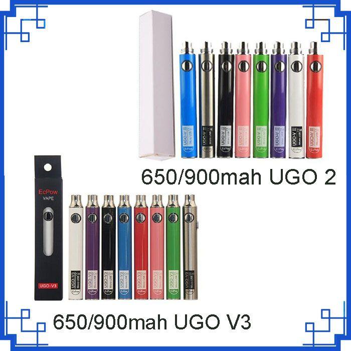 Orijinal Evod UGO 2 V3 650 mAh 900 mAh Ego 510 Pil USB Şarj Geçidi Vape Kalem Batterry Vs Vizyon Spinner seçeneği için 8 8 renkler