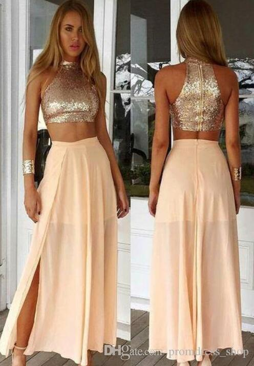 Hot Sell Two Pieces Prom Dresses 2020 Sequins Top Chiffon Skirt Side Slit Long Part Evening Gowns Women Holiday Dress Cheap