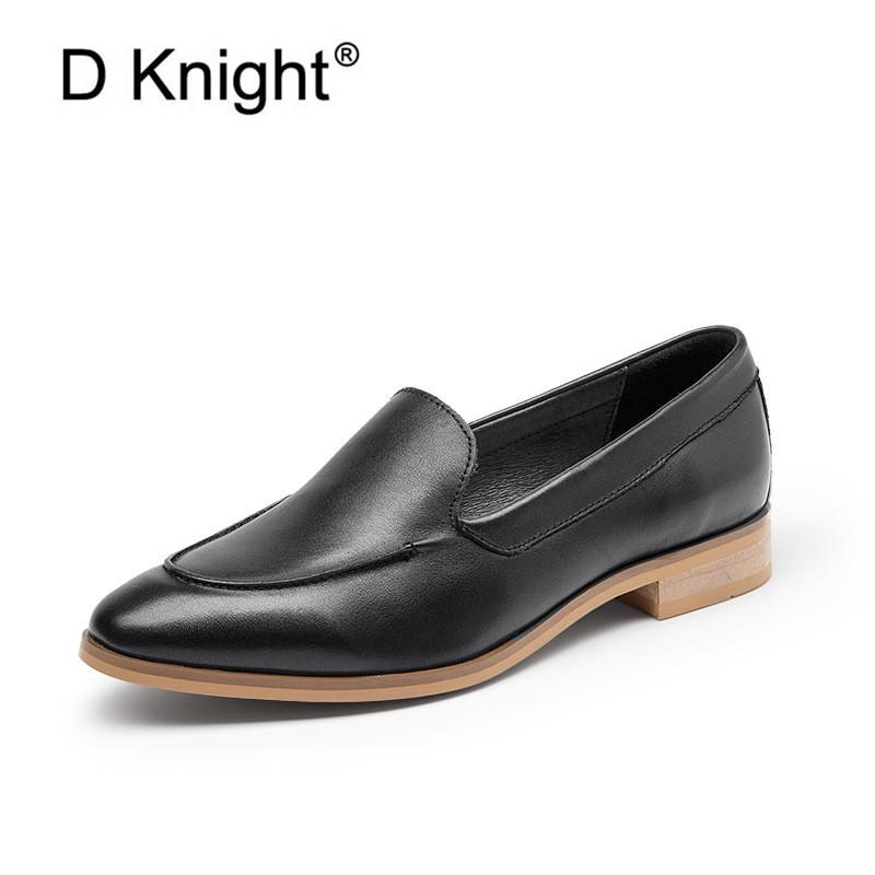 Handmade Genuine Leather Flats Loafes For Woman New Spring 2020 Pointed Toe Female Oxford Shoes Fashion Shallow Office Lady Flat