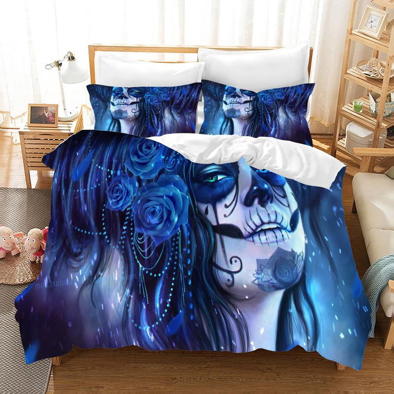 Fanaijia 3D sugar skull Duvet cover set comforter Bedding Set king size pillowcase bed home Textiles full size bed