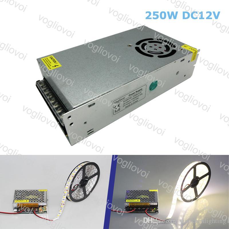 Transformadores de iluminação DC12V 250W Acessórios de prata de alumínio 110 V-240V para 3528 5050 Sinal de faixa no módulo Pixel Light DHL