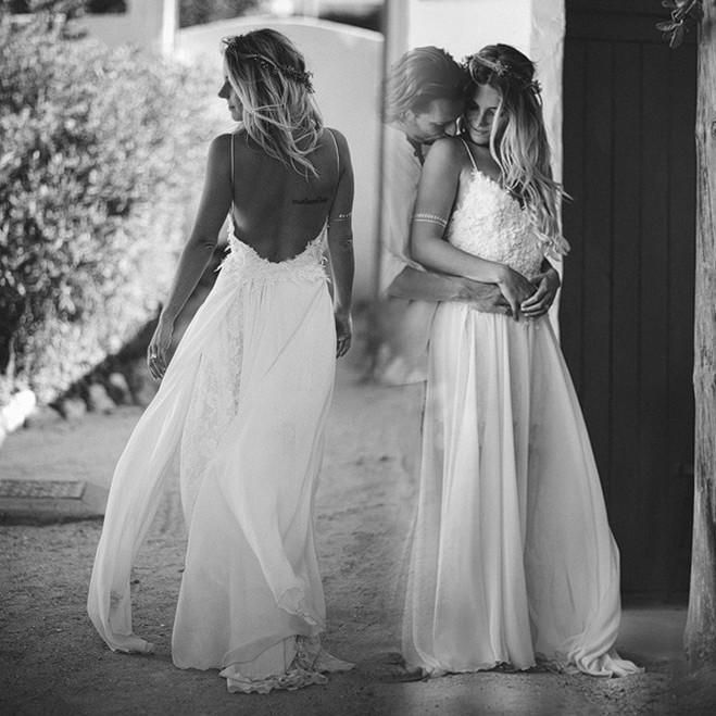Discount 2019 Modest Backless Wedding Dresses For Summer Spaghetti