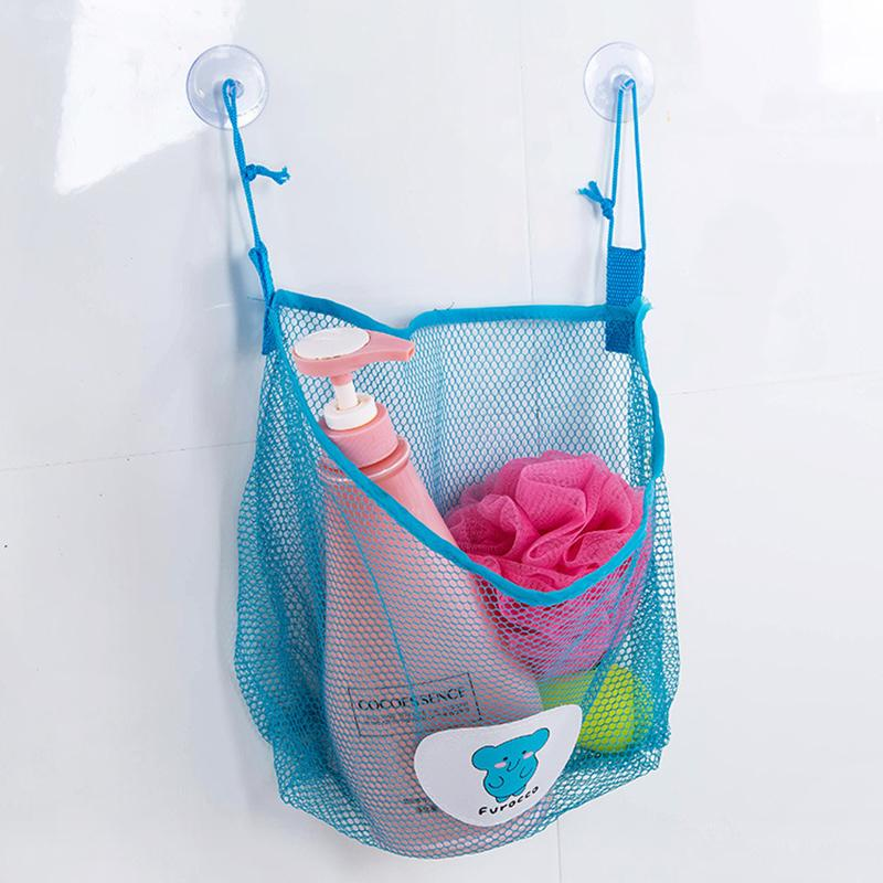 Suction Wall Hanging Kitchen Bathroom Sundries Storage Bag Knitted Net Mesh Bag Baby Bath Toys Shampoo Organizer Container
