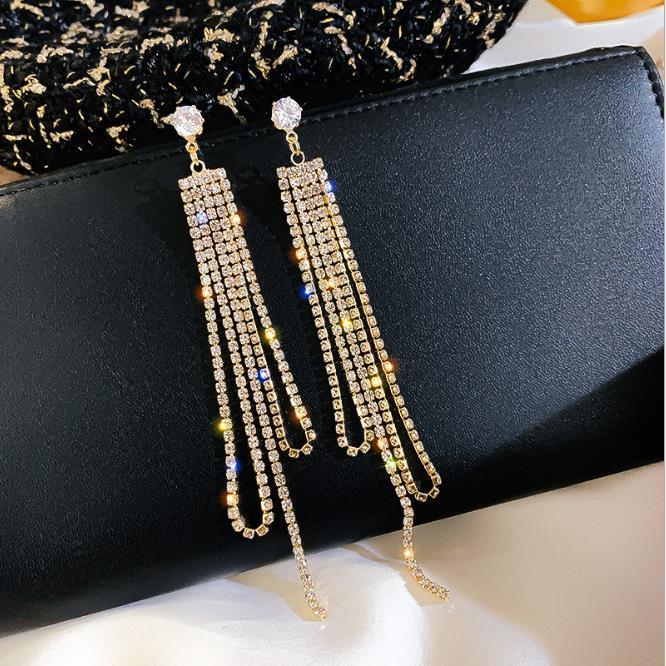 New Earrings 925 silver needle full diamond long claw chain Tassel Earrings with diamond earrings