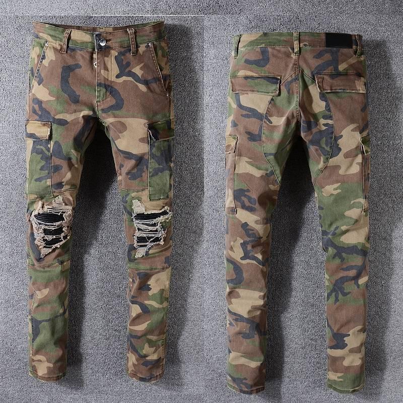 Moda-Mens Designer Calças Robin Rock Studs Denim Calças Designer Mens Designer Jeans Tamanho Grande Calças de Camuflagem Mens Jeans