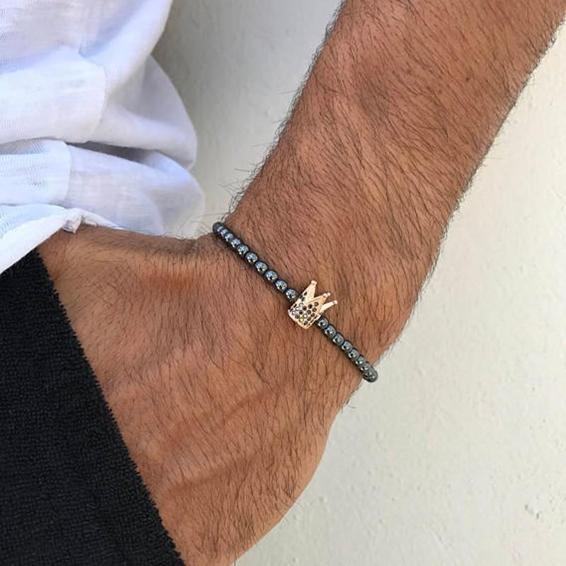 Männer 6mm Hämatit-Korn-Kronen-Kreuz-Armband Paar Weinlese-Löwe-Leopard-Kopf-Charme-Armband Hip Hop CZ KubikZircon Diy Armbänder Punk Schmuck
