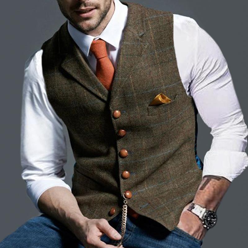 New Style Plaid Vests Men Sleeveless Coat Single Button Cotton Men's Vest Autumn Winter Casual Retro Coats Plus Size Jackets