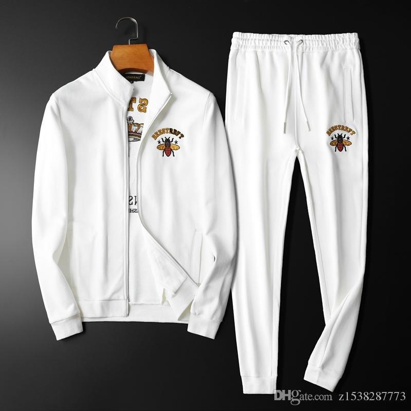 2020 أزياء الخريف جديد محبوك بلوزات منقوشة فاخرة رياضية ملابس رجالي رجالي رياضية عارضة الرجال رياضية مصمم حجم M-2XL
