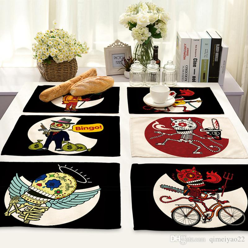 Cartoon Punk Skull Printed Placemat for Dining Table Heat-resistant Anti-slip Table Mat Bowl Coaster Tableware Pad Home Accessories