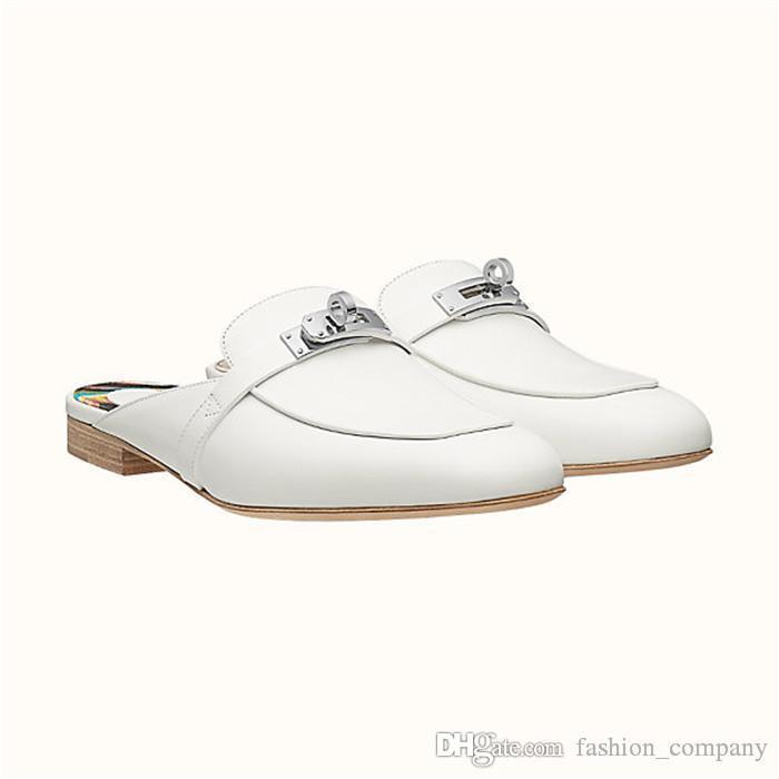 Kadın Dana Derisi Katır Klasik Deri Düz Loafer'lar, Tasarımcı Nedensel Ayakkabı Moda Bayanlar için Sandalet üzerinde Kayma ile Kutu Boyutu 34-42