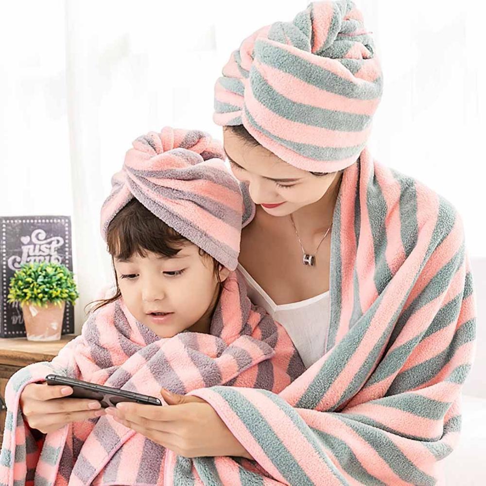 Microfibra de secado de pelo rápido de pelo del sombrero toalla de baño toalla de secado rápido del casquillo 25 x 63cm Toallas # 4c09