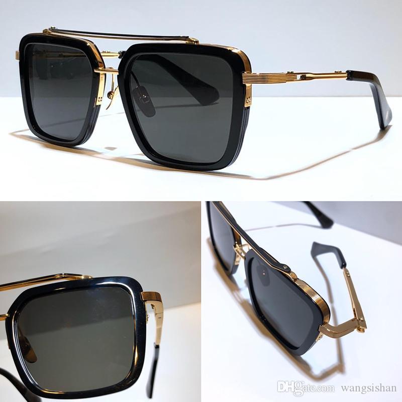 جديد سبعة نظارات شمسي الرجال أعلى معدن خمر الأزياء نمط الإطار مربع الحماية في الهواء الطلق uv 400 عدسة نظارات مع القضية تباع من قبل