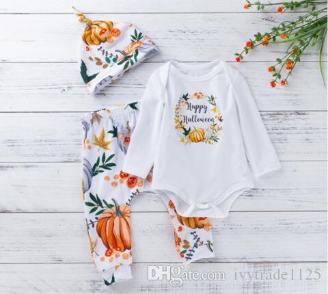 Erkek bebek Kız giyim romper setleri O-Boyun Uzun Kollu Kabak Gömlek + Pantolon + Şapka% 100% pamuk yüksek kalite Bebek Cadılar Bayramı giysi 3 adet Set