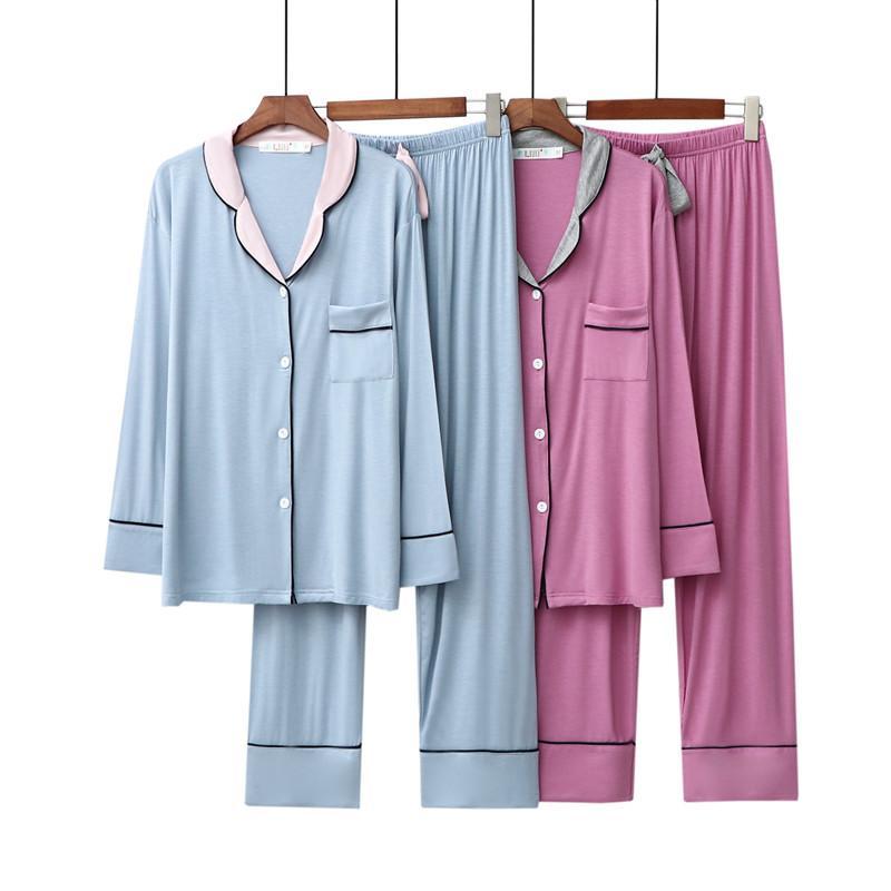 2020 otoño invierno Nueva modal pijamas solapa mujeres pantalones de manga larga de dos piezas floja Inicio usar pijamas Establece pijama mujer
