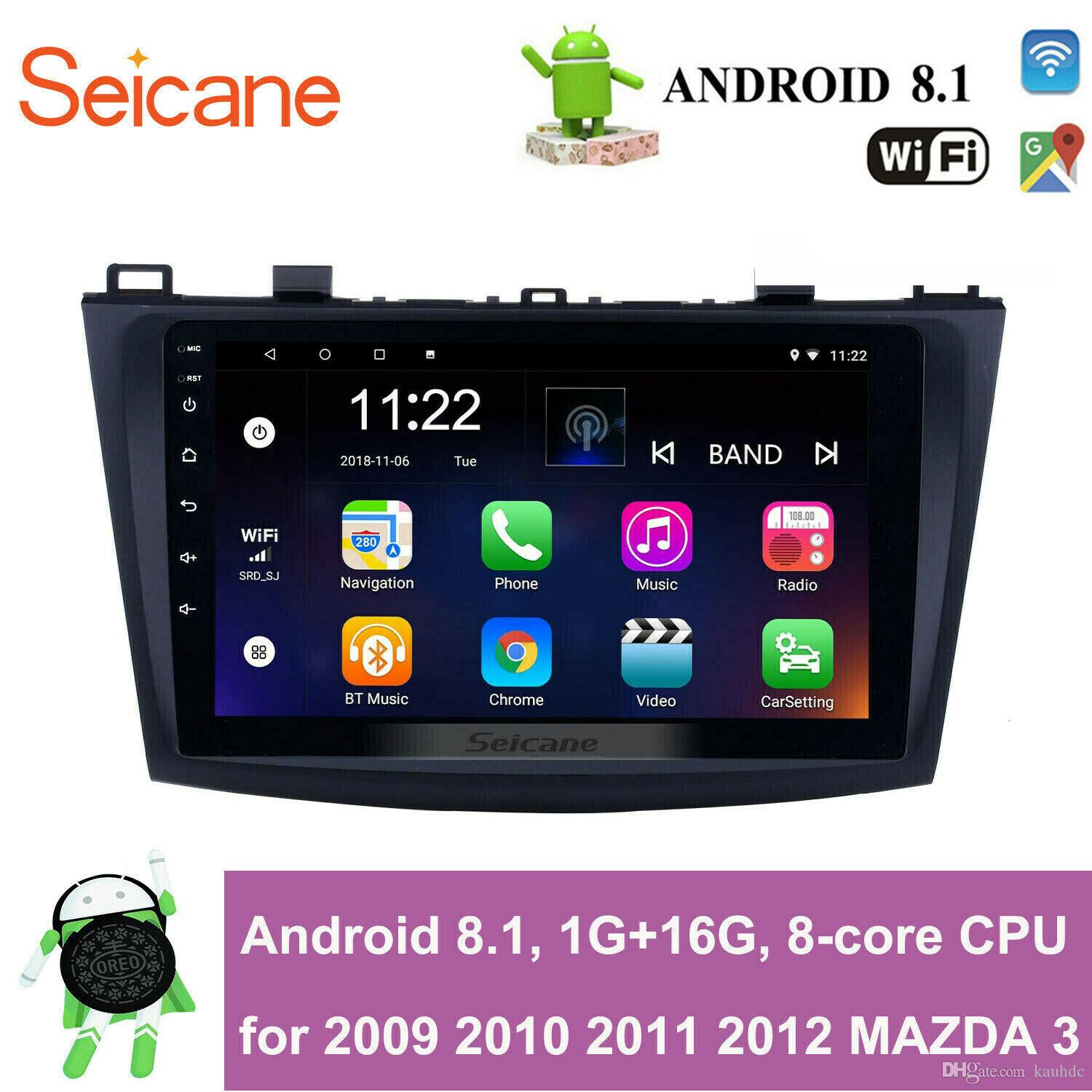 8-core 9 inch Touch Screen Android 8.1 GPS Navi Car Stereo for 2009 2010 2011 2012 MAZDA 3 with WIFI USB support Rearview Camera Mirror Link