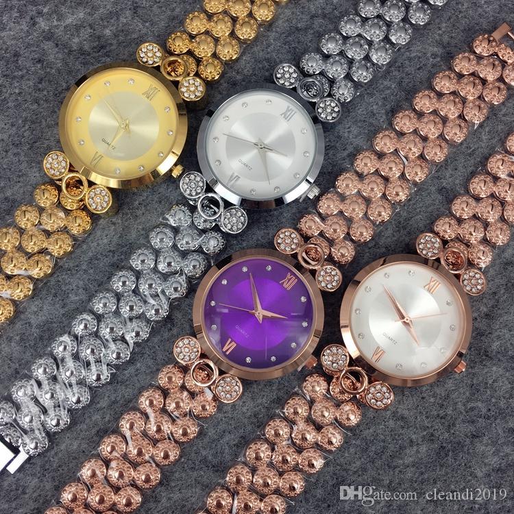 2019 nouveau modèle de mode dame de luxe montres femmes regardent or rose / or jaune en acier inoxydable Bracelet montres femme horloge avec diamant