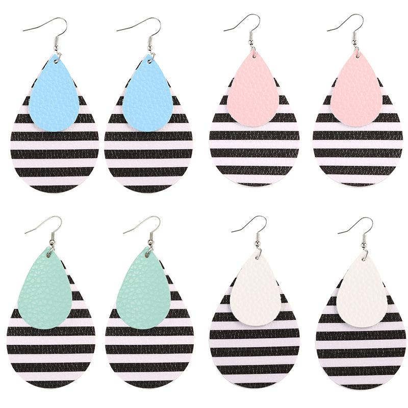 Fashion Women Multi-layer Leather Teardrop Earrings PU Leather Black and White Stripes Dangle Earring for Women Girl New Design Jewelry Gift