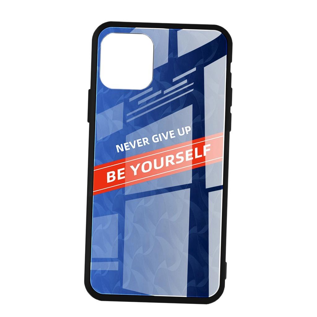 Lüks Cam ASLA VEREN YUKARI KENDİNİ Telefon Kılıfı IPhone 11 Mavi BE