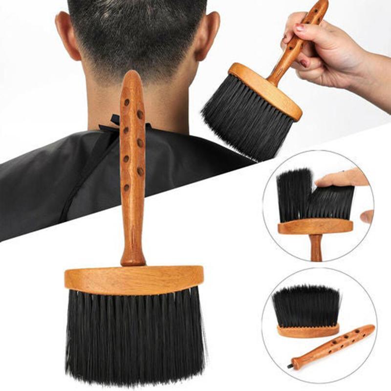 Poignée en bois visage doux cou de crosse de plumeau coiffeur coiffeur nettoyage de la brosse à cheveux de la brosse-poussière salon outil de coupe de coiffure