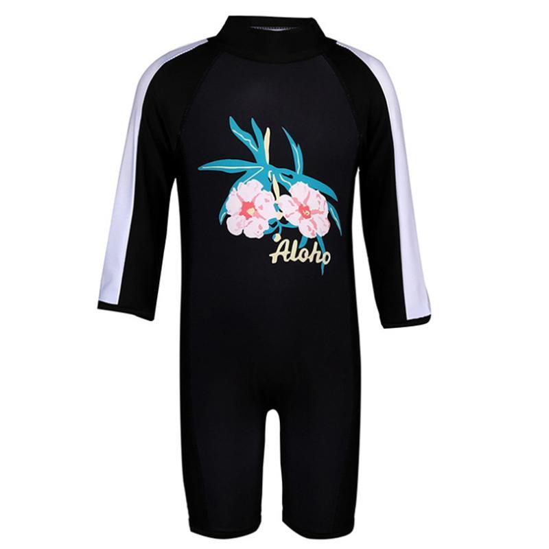 Tek Parça Kız Hawaii Tropik Spor Siyah Mayolu Kızlar Swim Suit Tulum CDFS34 için Çocuk Plaj Mayo