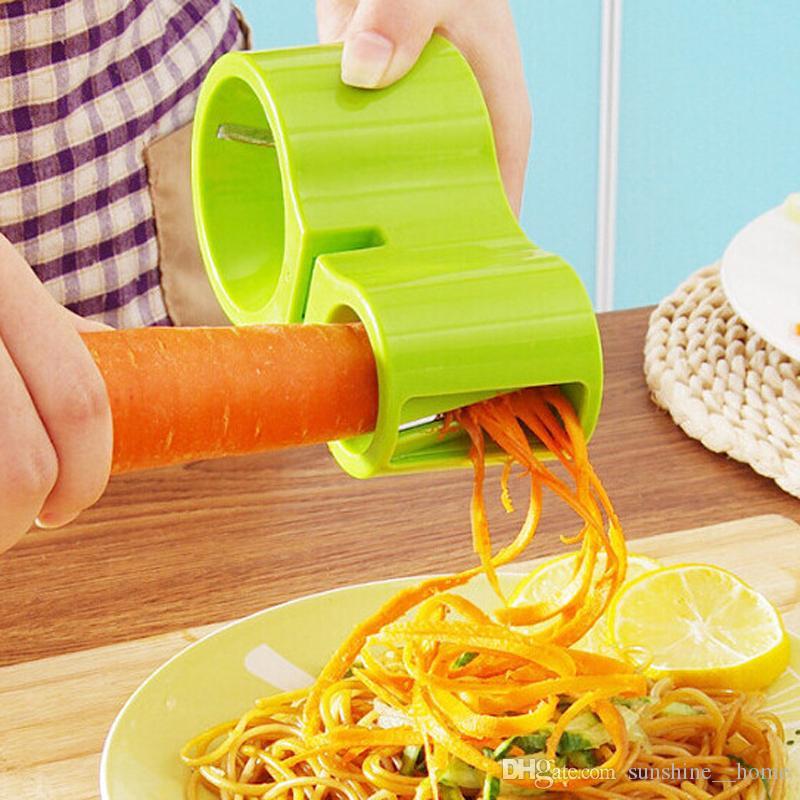 Nueva Creative Multi-funcionales Herramientas vegetales espiral principal doble alambre Planer Gadgets de cocina Con Sacapuntas fruta del envío gratuito