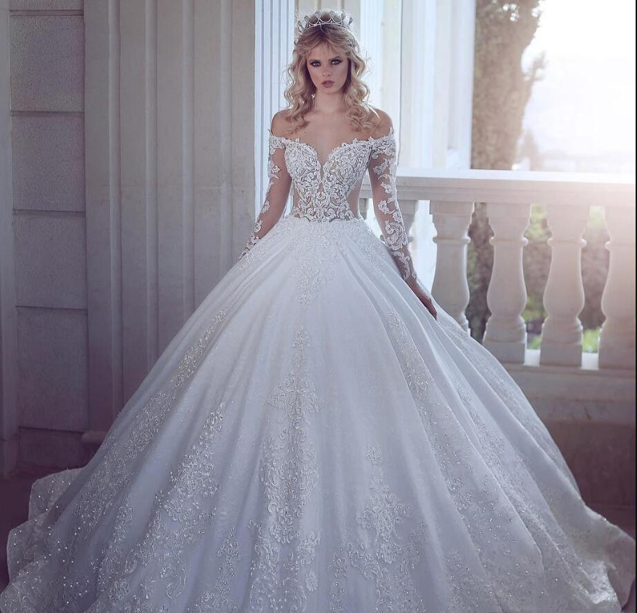 2020 Новая роскошная линия Свадебные платья Иллюзия плеча кружева аппликациями Кристалл бисера Длинные рукава Sweep Поезд Плюс Размер Свадебные платья