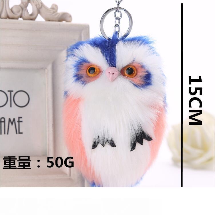 Supporto sveglio Portachiavi Catene Faux Fur Animal chiave 8 colori 15x8cm Fluffy Owl Cartoon portachiavi telefono pendente delle donne borsa portachiavi