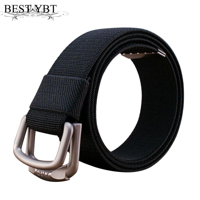 Meilleur YBT ceinture de toile unisexe mode en alliage hommes de toile de tissage double boucle de ceinture des hommes de cow-boy Soft casual tissu