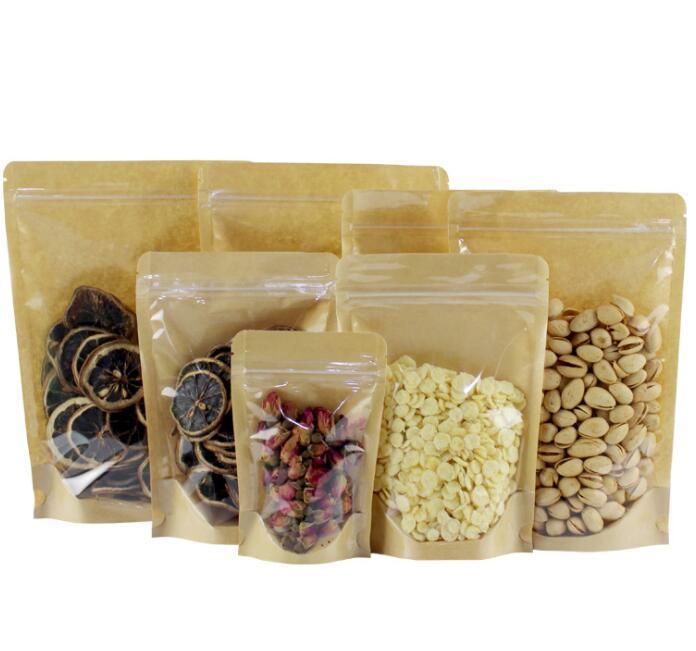 크래프트 종이 가방 음식 수분 배리어 가방 지 플락 씰링 파우치 식품 포장 가방 재사용 가능한 플라스틱 전면 투명 스탠드 위로 가방 GGA2062