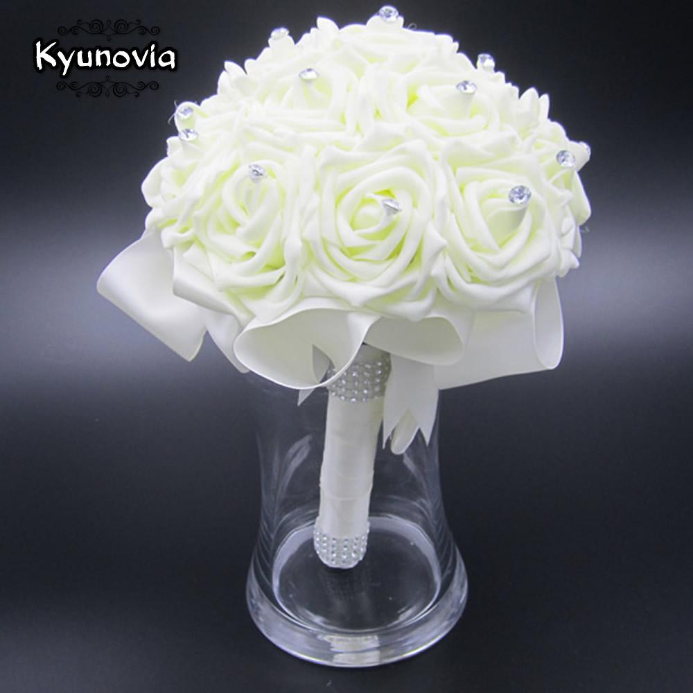 Kyunovia Beautiful Wedding Bouquet Bridal Bridesmaid Flower wedding artificial flower rose bouquet white bridal bouquets FW89