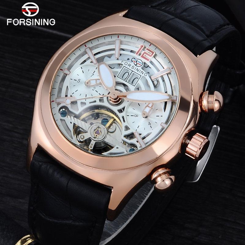 Forsining Convex verre élégant Tourbillion Hommes Bracelet en cuir véritable 3D Montres Top Montre bracelet automatique