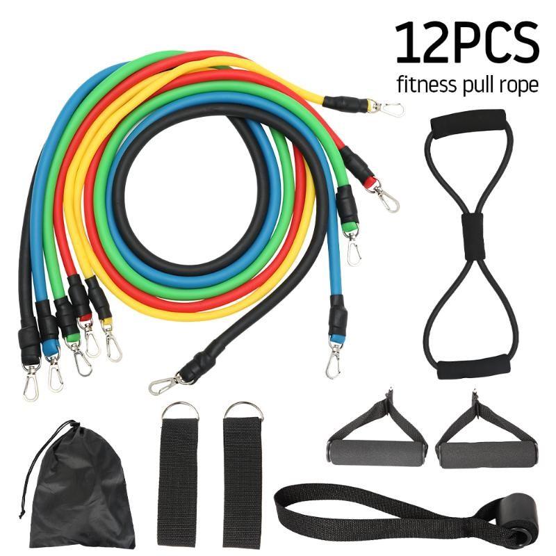 Las bandas de resistencia 12pcs Set de fitness tire de la cuerda elástica Inicio Ejercicios de entrenamiento Body Fitness látex Tubos Fuerza Gym Equipment