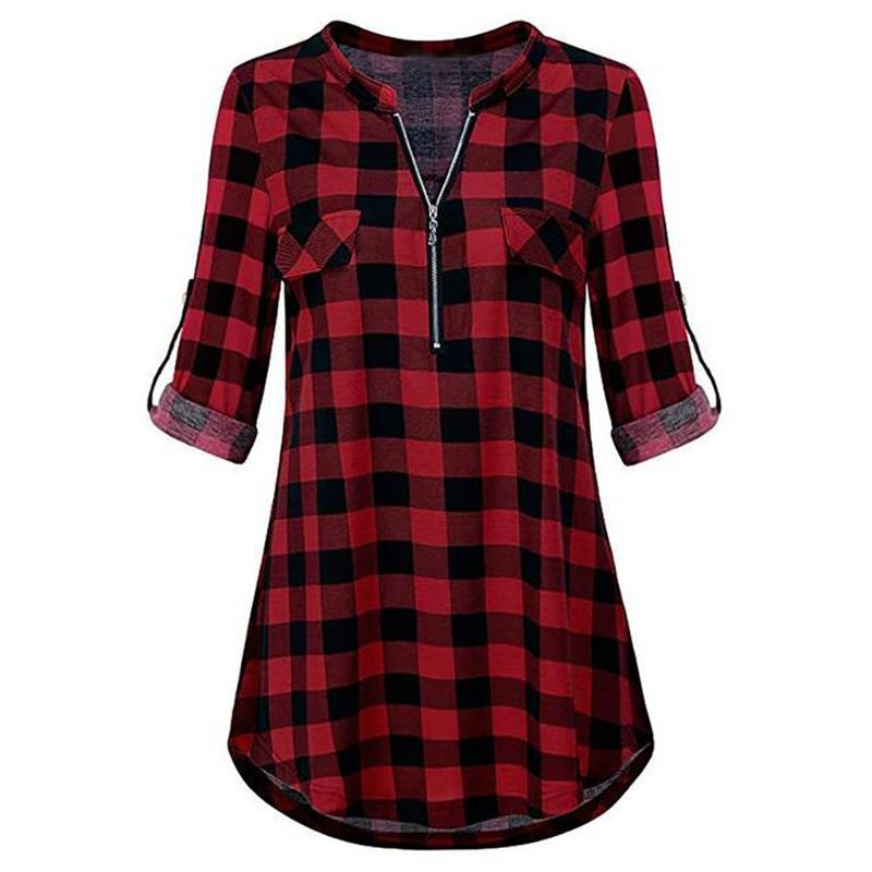 Zip плед V шеи длинным рукавом Повседневная рубашка Мода женщин блузка Топ 40 #