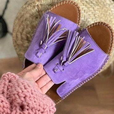 2020 neue Troddel-Frauen-Schuhe Sandalen Sommer flache Schuhe PU-Leder Gladiator Luxus-Schuh-Frauen Designer Schuhe De Mujer Fringe CX200616