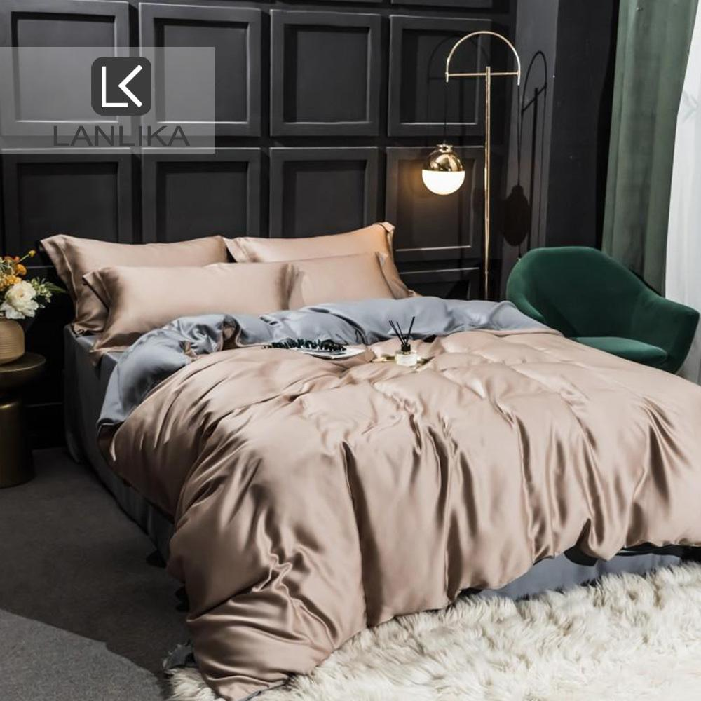 ParkShin Luxury Bedding Set 100% Silk Natural Soft Double Bed Duvet Cover Bedspread Flat Sheet Queen King Adult Bed Linen Set T200422