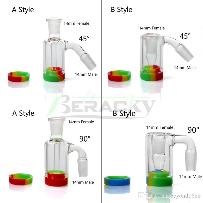 DHL!!! 14mm 18mm Glass Ash Catcher With 10ML Silicone Container Reclaimer Male Female Ashcatchers For Quartz Banger Water Bongs Dab Rigs