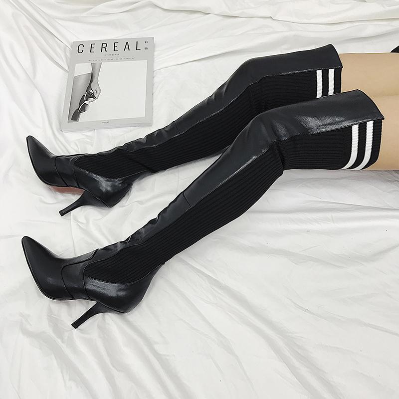 Caliente negro rojo de invierno Venta de Otoño-Nueva sobre el muslo botas hasta la rodilla fina de alta talón de punto de lana botas altas de las mujeres del estilete botas de mujer