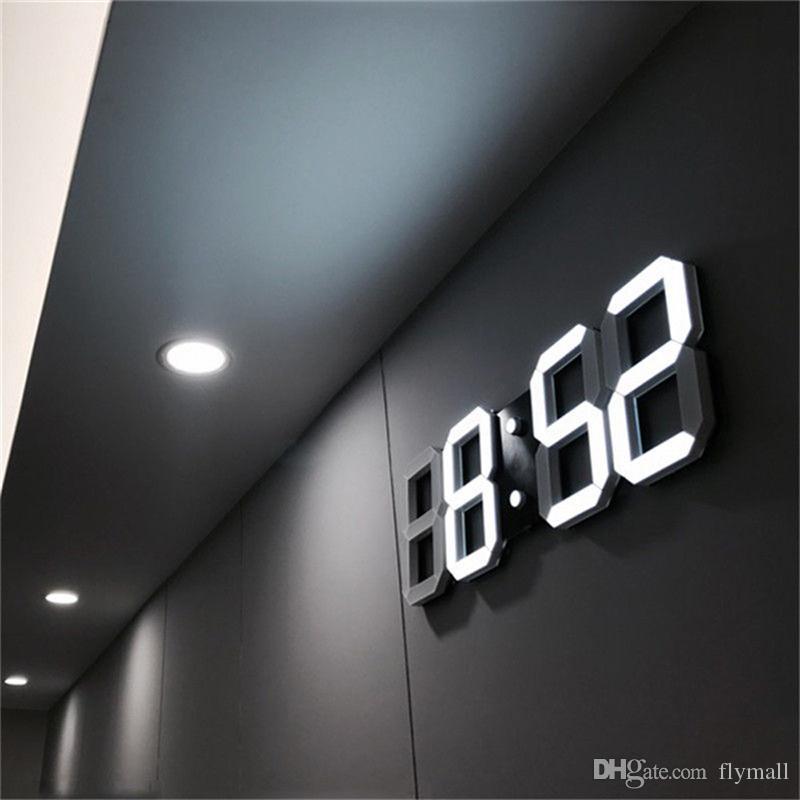 3D LED Wanduhr Modernes Design Digitale Tischuhr Alarm Nachtlicht Uhren Display Home Wohnzimmer Bürotisch Schreibtisch Nacht Wanduhr